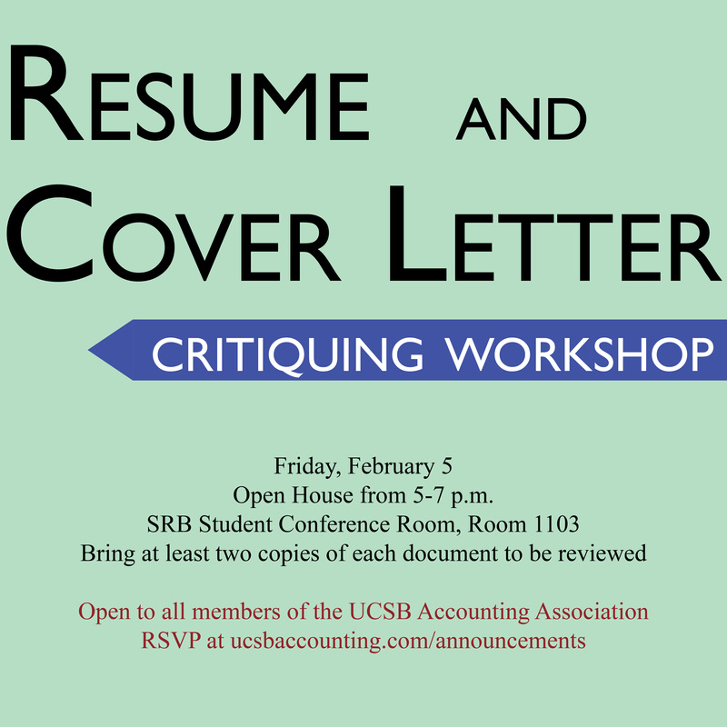 Workshop Resume and Cover Letter Critiquing UNDERGRADUATE